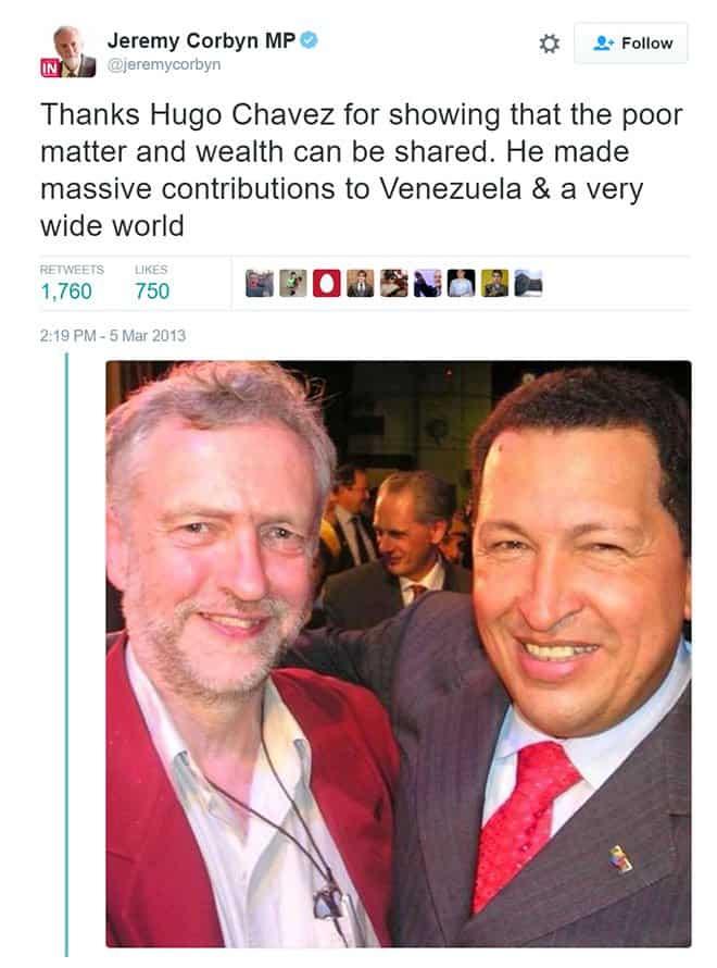 Jeremy Corbyn Chavez Venezuela Tweet - The Dollar Vigilante