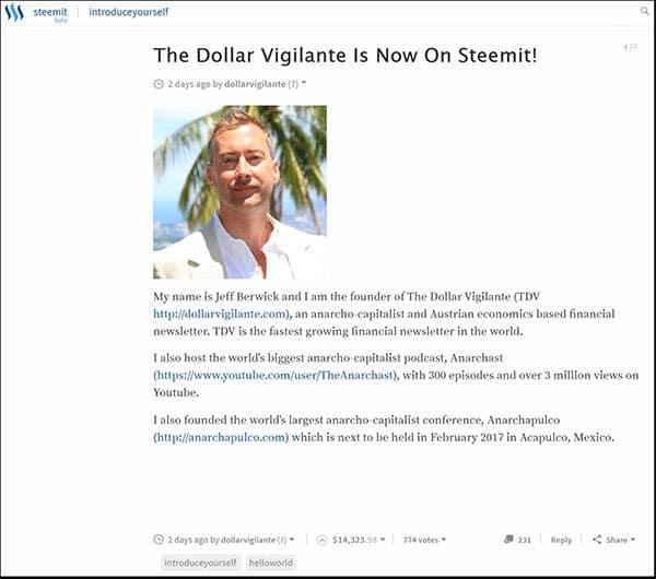 The Dollar Vigilante Is Now On Steemit